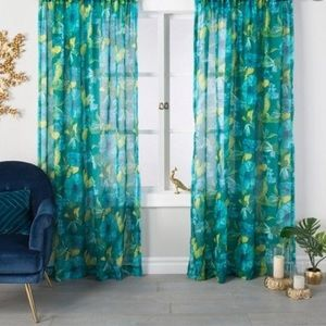 Pair of Indochic Floral Sheer Curtain Panels Bluff